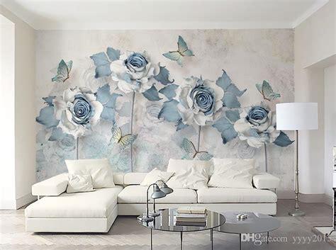 wallpaper  bedroom walls light blue elegant  flower