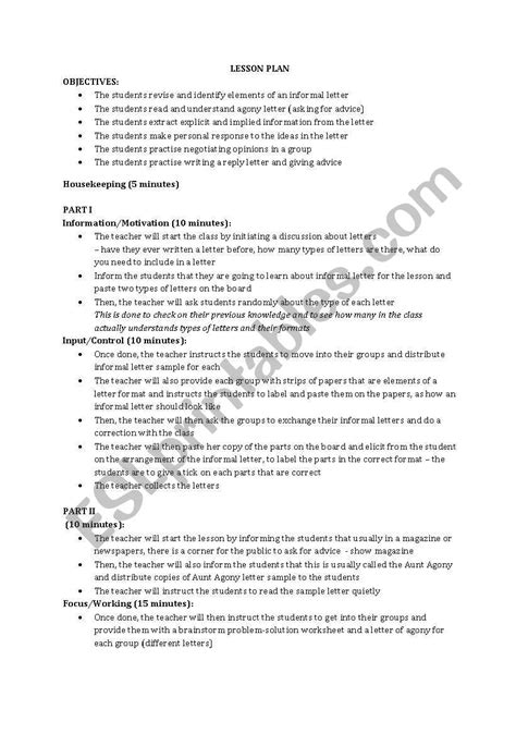 informal letter writing complete lesson plan activity