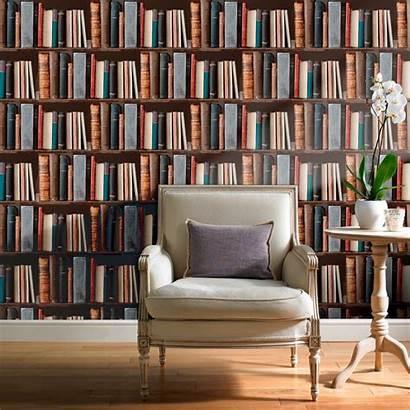 Bookshelf Wall Bookshelves Wallpapersafari Murals Childrens Effect