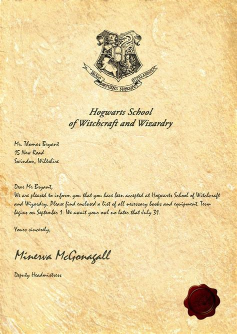 ideas  hogwarts letter template  pinterest