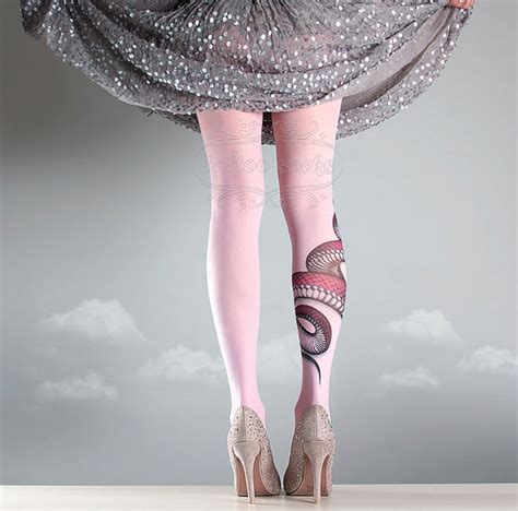light pink tights new light pink one size snake length printed tights