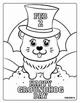 Groundhog Coloring Pages Sheets Printables February Adorable 2021 Hat Head Comments sketch template