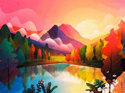 Scenery Illustration Graphic Animated Designers Inspiration Landscape
