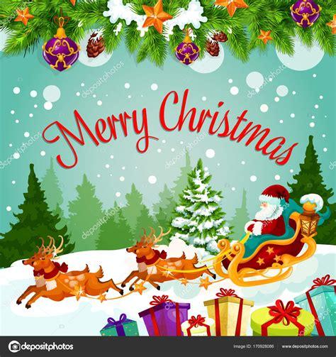 Merry Christmas Santa gift vector greeting card Stock