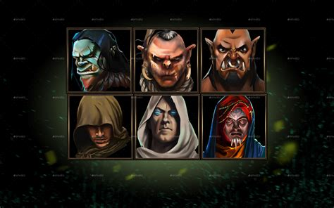 fantasy rpg character avatar icons  combo graphicriver