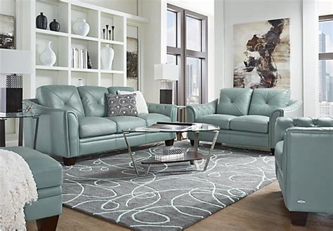 Marcella Spa Blue Leather 3 Pc Living Room