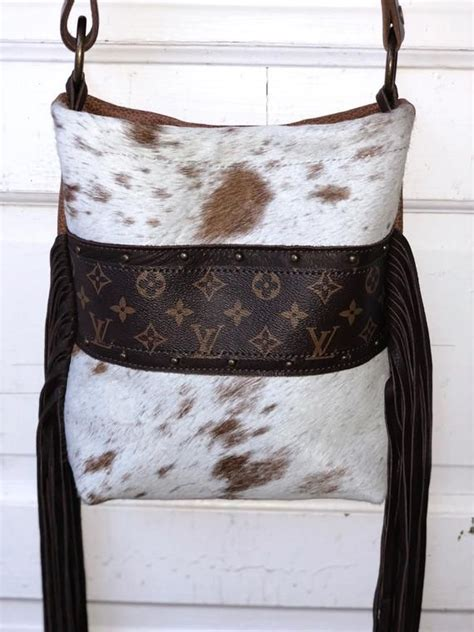 cowhide purse upcycled louis vuitton henry brown white etsy cowhide purse louis vuitton