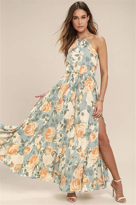 light blue floral dress stunning floral print maxi dress light blue and peach