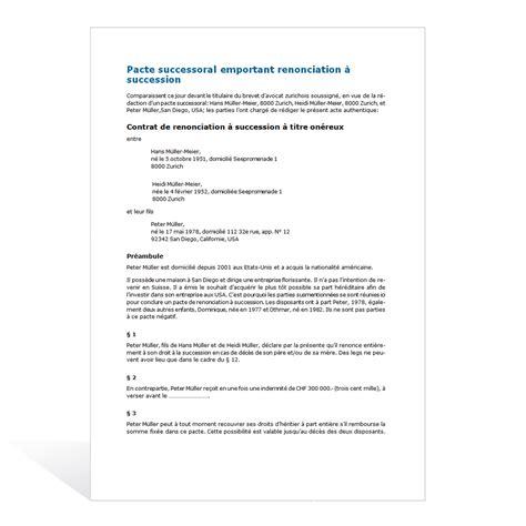 modèle de lettre de renonciation pacte successoral emportant renonciation 224 succession