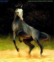 Rearing Grey Horse
