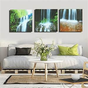 3, Cascade, Large, Waterfall, Framed, Print, Painting, Canvas, Wall, Art, Picture, Home, Decorate, Living