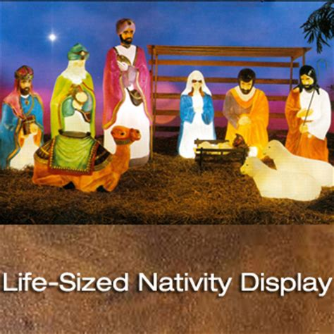 outdoor lighted christmas decorations 4 piece blow molded life sized nativity set general