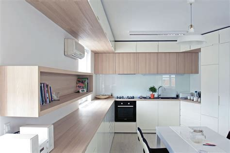 interior of kitchen a custom design makes the most of an irregular apartment