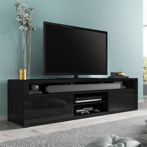 storage shelves for bedroom evoque black high gloss tv unit with soundbar shelf