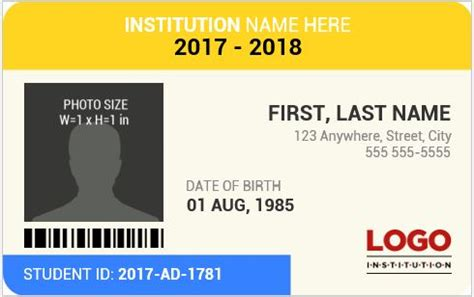 id card template for students student id card templates for ms word word excel templates