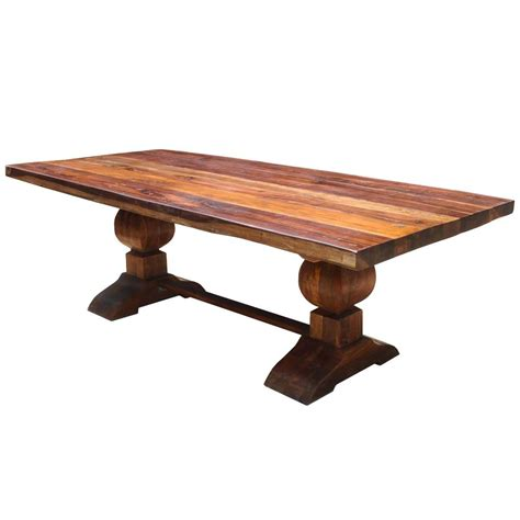 large rustic reclaimed wood double trestle pedestal dining