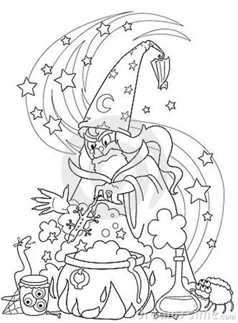 wizard making  potion stock images image