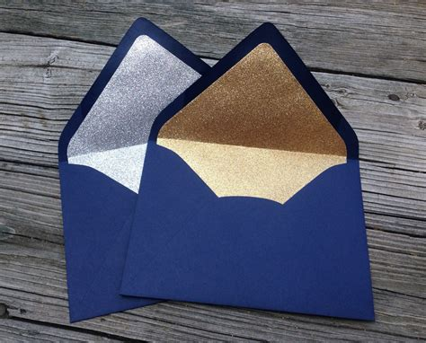 a 7 envelope navy blue a7 5x7 gold or silver glitter lined envelopes