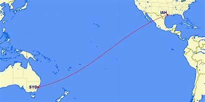 Sydney Houston United Flight Route Range Map