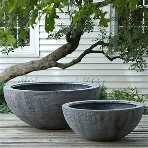 Tall fiberstone bowl terrain for Large garden pots