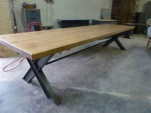 Table Industrielle Bois : table industrielle pieds x ipn plateau en pin de 350 cm robin sicle ~ Teatrodelosmanantiales.com Idées de Décoration