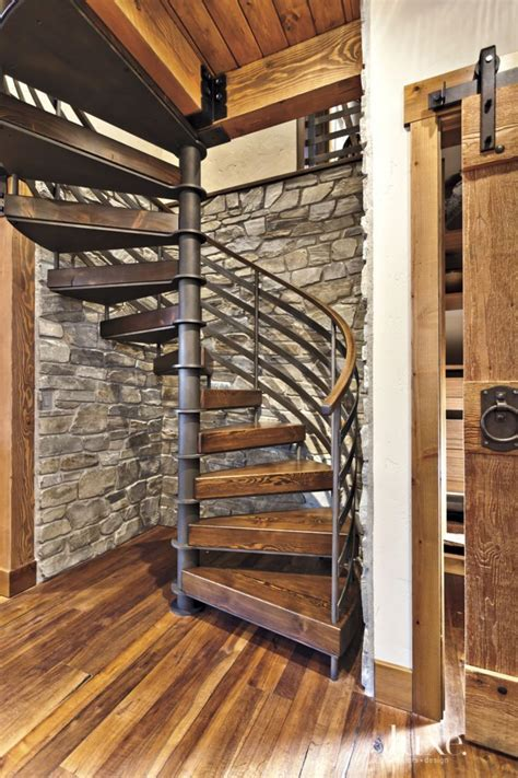 Neutral Mountain Spiral Staircase Alcove   Luxe   Halls