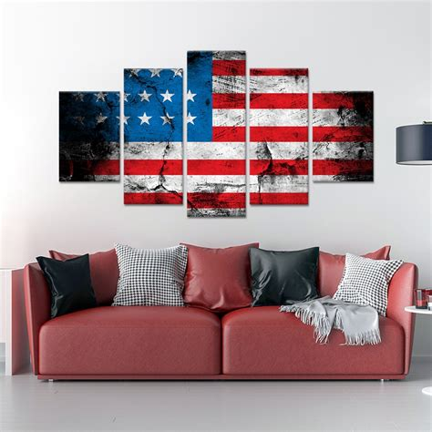 american flag canvas wall grunge american flag multi panel canvas wall 7434