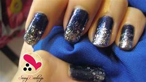 Image of: Glitter Royal Blue Nail Remove Glitter Nail Art Love Blue Nail Designs To Beauty Your Nails