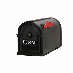 postal pro hampton post mount mailbox black with white With home depot mailbox letters