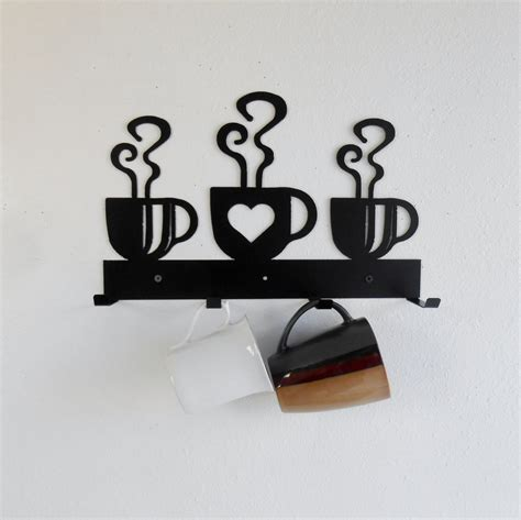 My husband & i handmake each and every one! Coffee Cup Mug Rack / Four Cup Holder / Metal Wall Hanging