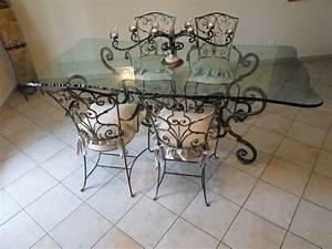 Table Verre Et Fer Forgé : table fer forge chaises clasf ~ Teatrodelosmanantiales.com Idées de Décoration