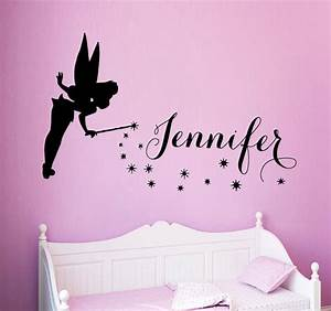 fairy girl wall decals tinkerbell girl personalized name vinyl With tinkerbell wall decals