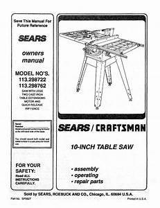 Sears Craftsman Table Saw Manual Model   113 298762