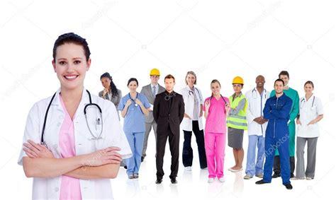 Diversi Tipi Di Piedi Dottore In Piedi Davanti A Diverse Tipologie Di Lavoratori