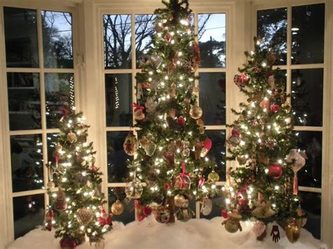 3 trees in a bay window christmas trees pinterest