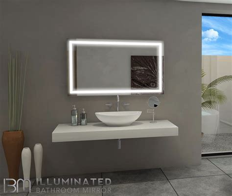 Lighted Bathroom Mirrors by Lighted Bathroom Mirror Size H 48 X W 28 X D 2 Inches