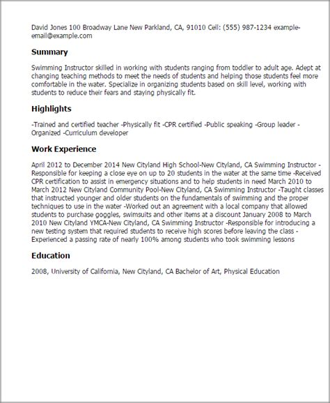 time swimming instructor cover letter professional spinning instructor templates to showcase