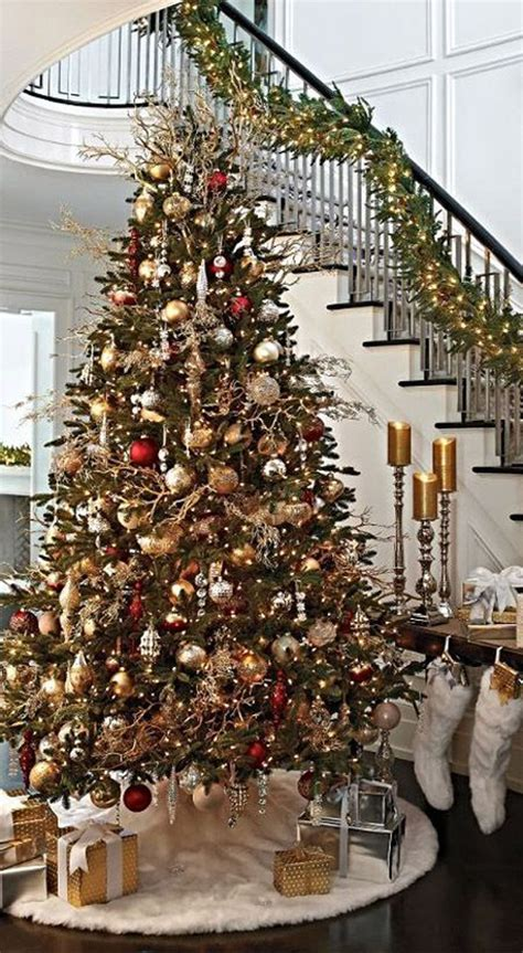 stairs luxury gold christmas trees homemydesign