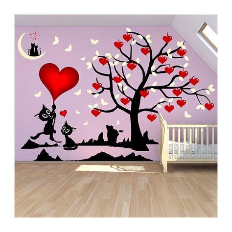 stickers chambre fille arbre et chats o 249 les coeurs