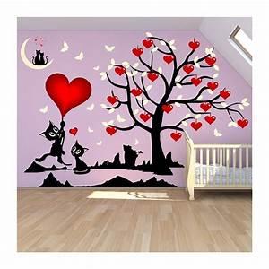 Stickers Arbre Chambre Bébé : stickers chambre fille arbre et chats o les coeurs ~ Melissatoandfro.com Idées de Décoration