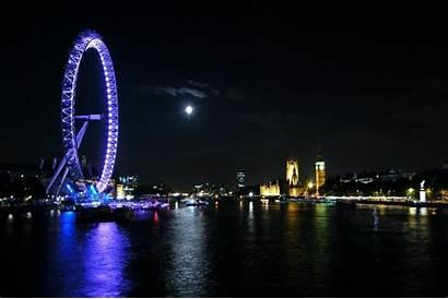 Night London Moon Lights Eye Neon Thames