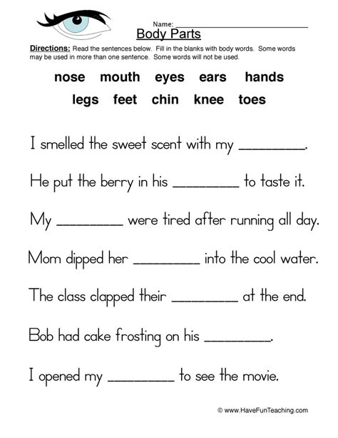 parts worksheet fill in the blanks