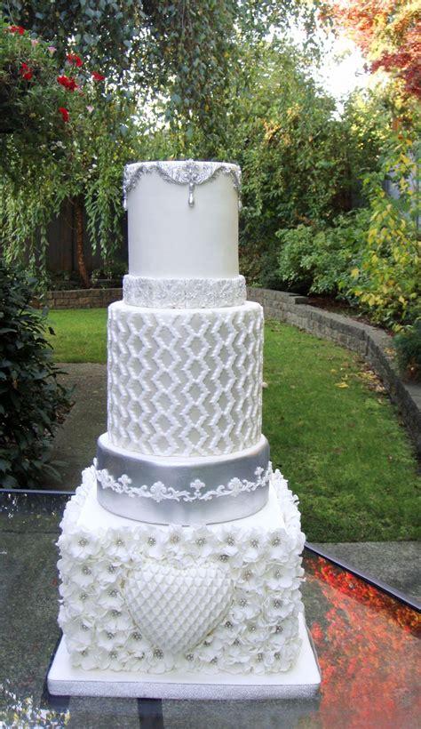 white  silver wedding cake cakecentralcom