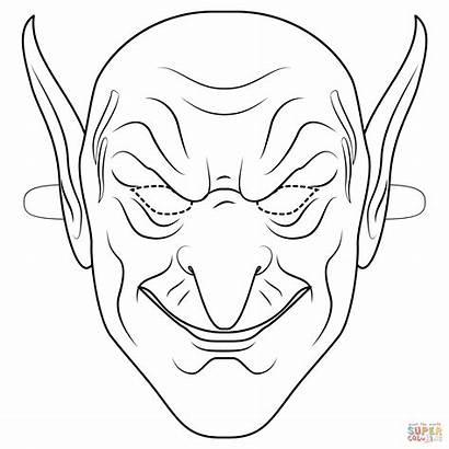 Coloring Goblin Mask Halloween Outline Printable Drawing