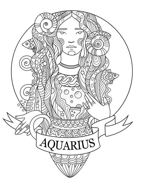 aquarius zodiac sign coloring book vector stock vector