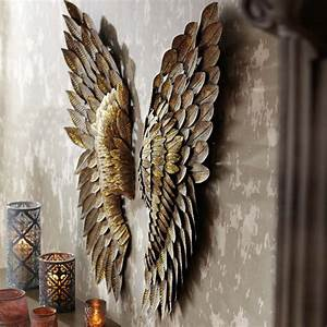 Greywash metal angel wings set
