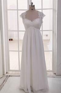 Lace chiffon wedding dress cap sleeves empire waist by for Chiffon wedding dress empire waist