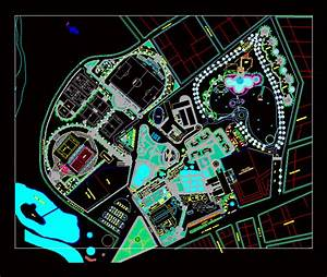 Tourist Park With Thermal Baths And Planimetry 2d Dwg