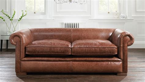 image brown leather chesterfield sofa