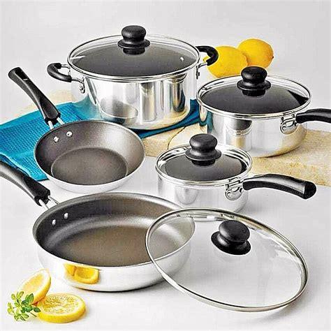 pans pots cooking kitchen cookware aluminum nonstick piece lid polished